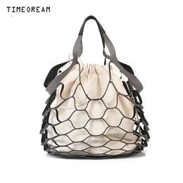 $enCountryForm.capitalKeyWord Australia - TIMEOREAM Brand 2018 New Ms. Drawstring Tote Korean Handbag Fashion Mesh Hollow Design Canvas Bag Mother Two Packages