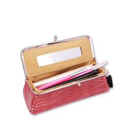 Discount lipstick make up cosmetic - New Women Makeup Bag with Mirror Portable Lipstick Cosmetic Bag Travel Make Up Organizer Toolbox Brush Storage Case Pouc
