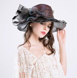 $enCountryForm.capitalKeyWord Australia - Six colors optional big hat fashion big flower decoration caps UV protection sun hat ladies etiquette cap head decoration hat