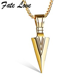 Horn color necklace online shopping - Colar Masculino Arrow Pendants Necklaces Gold Color Stainless Steel Necklace Men Jewelry Vintage Accessories Jewellery Collier