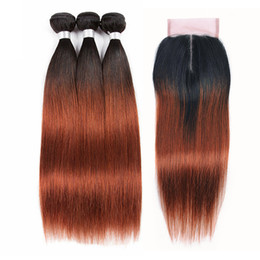 $enCountryForm.capitalKeyWord UK - 1B 33 Brazilian Ombre Human Hair Bundles with Closure Silky Straight High Quality Pre-Colored Hair Extensions Bundles with 4x4 Lace Closure