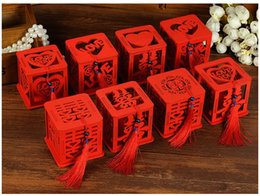 Box Tassel NZ - Wood Chinese Double Happiness Wedding Favor Boxes Candy Box Chinese Red Classical Hollow Sugar Case With Tassel