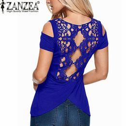 $enCountryForm.capitalKeyWord NZ - Wholesale- ZANZEA 2017 Summer Blusas Sexy Women Blouses Lace Crochet Short Sleeve Backless Off Shoulder Split Tops Blouse Shirt Plus Size