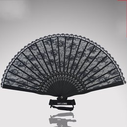 Round lace caRved online shopping - Black Antiquity Cheongsam Real Silk Lace Fold Fans Hand Round Fan Dance Wedding Favors For Guest Gifts Arts And Crafts15mg gg