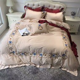 Red Embroidered Bedding Australia - New winter style luxury Brown egyptian cotton bedding sets queen king size embroidered duvet cover bed sheet set pillowcase