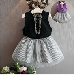 Wholesale New Summer Girls Dress Clothing Sets Fashion Cotton Sleeveless T shirt Organza Skirts Children Kids Girl Clothes Set