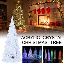 Christmas Ornament Flashing Australia - Wholesale colorful acrylic crystal Christmas tree flashing light night small Christmas tree Home Mall Festival decoration 1pc