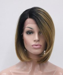 $enCountryForm.capitalKeyWord Australia - free shipping Charming beautiful Hot Quality Details about Ombre Gray Black Root Heat ok Hand tied Invisible L Part Wig Straight Bob wig