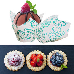 $enCountryForm.capitalKeyWord Australia - 50PCS Medium-sized Tulip Shape Muffin Wraps Cases Flame Pattern Baking Cups Classic Coffee Oil-proof Thickened Cake Paper Cups