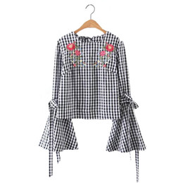 1e471184360 Women sweet flower embroidery flare sleeve shirt long sleeve with tie plaid  blouse o neck ladies brand tops blusas