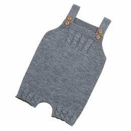 7ea125074 Colores de punto mameluco niño recién nacido bebé niños niñas botones de la correa  mamelucos sólidos trajes de mono casual diario cálido hogar
