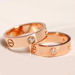 Anillos de amor de oro rosa de 6 mm de acero inoxidable con diamantes Anillos de plata de amantes de oro Anillos de banda para pareja Joyería fina de mujeres y hombres