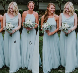 Wholesale 2019 Mint Green Chiffon Bohemia Long Bridesmaid Dresses Halter Floor Length Wedding Guest Maid Of Honor Vestidos De Festa BM0168