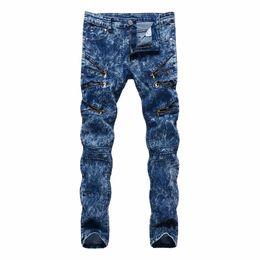 Wholesale dance jeans resale online – designer Top quality Fashion Casual slim fit Multi Zipper nightclub hip hop dance street straight blue snow men s trousers men jeans