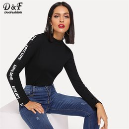 Wholesale Dotfashion Black Mock Neck Rib Knit Letter Long Sleeve Tee Women Casual Autumn Clothes Fashion Tops Stand Collar T Shirt