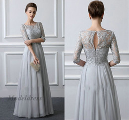 Spring Water Quality Canada - Gray Elegant Evening Dresses with Lace Tops Half Sleeves Chiffon A Line Long Length Formal Evening Gowns Custom Made High Quality Dress 2018
