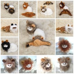 Discount hot dog ornament - Universal Pet Headgear Funny Lion Dogs Cats Mane Wig Cartoon Lovely Non Toxic Puppy Head Hats Hot Sale 13 5bb B