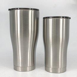 Bicchiere in acciaio inox da 30 once / 20oz Bicchiere da 30 once in acciaio inox a doppia parete con coperchio scorrevole in argento in Offerta