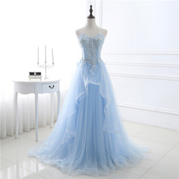 $enCountryForm.capitalKeyWord NZ - Light Sky blue Prom Dress Pleats Tulle Sexy Exposed Boning Lace-up Back Evening Dresses Applique with Beading Sequins Real Pictures 2018