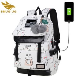 new white laptop 2019 - New Female Fashion Letters Printing Backpack Usb Bag For Laptop Women Travel Bags White Canvas School Backpack For Girls