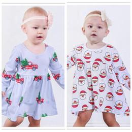 AmericAn girl cAr online shopping - Kids Designer Clothes Santa Print Baby Girl Dresses Toddler Tree Car Print Dress Cute Long Sleeve Dress Casual Princess Dresses YL410