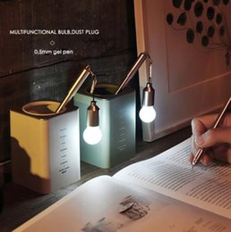 Navy Gel NZ - 1pc Cartoon cute Creative modeling neutral pen Light bulb Dust plug gel pen multifunctional School supplies