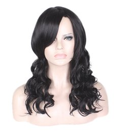 Discount long wigs side bangs Cheap Long Natural Body Wave Synthetic Black Hair Wigs Side Bang Wig for Women Heat Resistant Wig