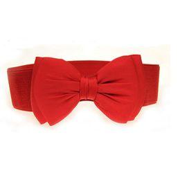 $enCountryForm.capitalKeyWord NZ - Winfox Vintage Black Red White Women's Wide Belt Elastic Stretch Bow Belt Waistband Waist Belts For Ladies Dresses