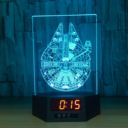 Discount power touch remote - 3D Millennium Illusion Clock Lamp Night Light RGB Lights USB Powered 5th Battery IR Remote Dropshipping Retail Box