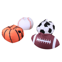 plush toy beans UK - 26Inch Toys Storage Bag Sitting Chair Bean Bags Fabric Kids Stuffed Clothing Organizer Animal Plush Football Soft Pouch Stripe LC797
