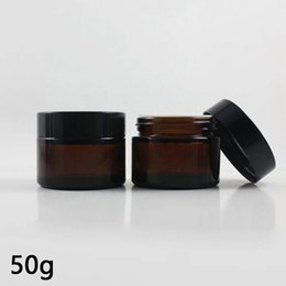 $enCountryForm.capitalKeyWord NZ - 50G Amber Glass Jars For Cream Brown Glass Round Jars With Inner Cover Makeup Containers Sample Eye Cream Packing