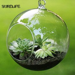hanging glass ball candle holder NZ - Terrarium Ball Clear Hanging Glass Vase Flower Plants Container Micro Landscape DIY Wedding Candle Holder