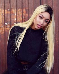 blonde wig lace front silky straight 2019 - Ombre Full Lace Human Hair Wigs With Baby Hair Silky Straight 1b 613 Blonde Brazilian Remy Hair Full Lace Wigs discount