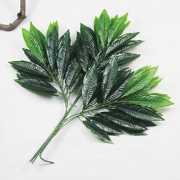 Tree Branches UK - 12pcs Artificial Peach Tree Leaf Branch For Plant Wall Background Wedding Home Hotal Office Bar Decorative