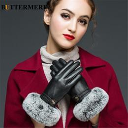 Men Gloves Leather Sheepskin Australia - BUTTERMERE Sheepskin Gloves Women Genuine Leather Gloves Ladies Real Rabbit Fur Winter Warm Velvet Female Glove For Driving