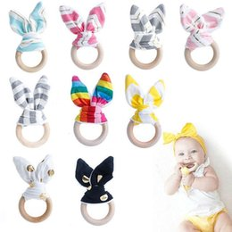Discount teethers - Infant Baby Teethers Teething Ring Fabric Wooden Teething Training Crinkle Material Inside Sensory Toy Natural Teethers