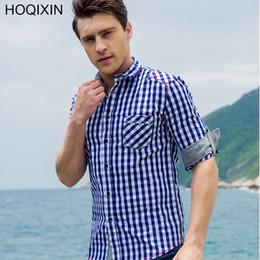 $enCountryForm.capitalKeyWord Canada - HOQIXIN New Arrival Men's shirt Long Sleeve Plaid Shirts Mens Dress Shirt Brand Casual Denim Style Checks Plus Size 105