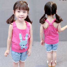 $enCountryForm.capitalKeyWord Australia - 2PCS Toddler Baby Girls Summer Sleeveless clothing sets Rabbit T-shirt Tops+Pants Shorts Pants Set Clothes Kids Outfit 1-4Y