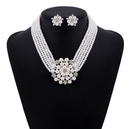 Discount luxurious bridal set - Bridal necklace set luxurious texture set with dia mond, pearl and flower necklace