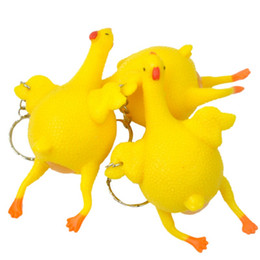 plastic chicks Australia - Antistress Toy Funny Prank Chicken Novelty Chick Lay Eggs Chicken Key Chain Children Toys Gags Practical Joke Interesting Toys