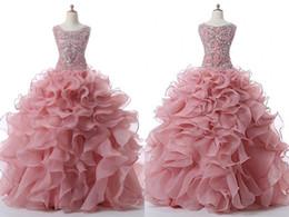 $enCountryForm.capitalKeyWord UK - Fashion Dusty Rose Jewel Quinceanera Prom Dresses Ruffled Organza Sparkly crystal Rhinestones Sweet 16 Evening Formal Dresses Vestidos 15