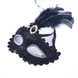Celebrity Masquerade Ball UK - 30pcs lot 2018 New Child adult Halloween plastic mask with feather for Princess party Venice Masquerade ball women mask black