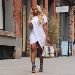 plus size sexy tunics club 2019 - HAOYUAN Plus Size Summer Dress Women Irregular Split Robe Sexy Club Tunic Short Sleeve Black White Yellow Party T Shirt