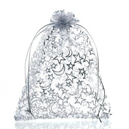 Chinese  Mjartoria 200pcs Star Moon White Organza Bag Fashion Jewelry Bags And Packaging Wedding Drawstring Gift Bags Pouches Bag For Gift manufacturers