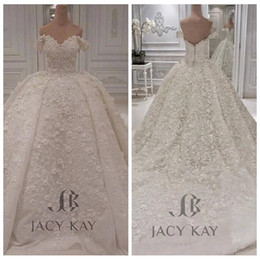 2019 Off Shoulder Lace Ball Gown Wedding Dress Big Puffy Bridal Gown Custom Plus Size Tulle Sexy Garden Vestidos De Mariage Formal on Sale