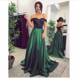 8b1d1a9389f147 2018 Sexy Elegant Long Black Top Prom Dresses Lace Green Available Off  Shoulder Sleeves for Woman Plus Size Evening Gowns FOrmal Wear