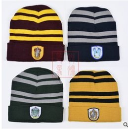 4aeda418cf0 Harry Potter Beanie Ravenclaw Gryffindor Skull Caps Slytherin Hufflepuff Knit  Hats Cosplay Costume Caps School Striped Badge Hats Gift