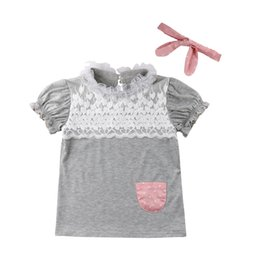 China 2018 Sweet Pretty Summer Toddler Baby Girls Dress 2PCS Petal Sleeve Lace Patchwork Straight Mini Grey Dress + Headband supplier pretty girls headbands suppliers