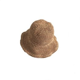 2cf1ee114a2 Spring Summer Women Handmade Straw Crochet Sun Hats Wide Brim Hollow Beach  Hat Ladies Breathable Fisherman Hat Cap
