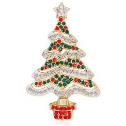 wholesale rhinestone brooches UK - New Gold Alloy Red Green White Rhinestone Zircon Christmas Tree Brooches For Women Girls Gifts Fashion Pins Clothes Accessories